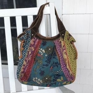 Fossil canvas & Leather Hobo Purse
